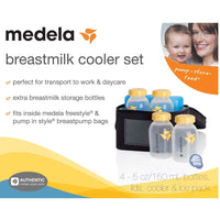 Medela Breast Milk Black Cooler Bag Set w/ 4 Baby Bottles