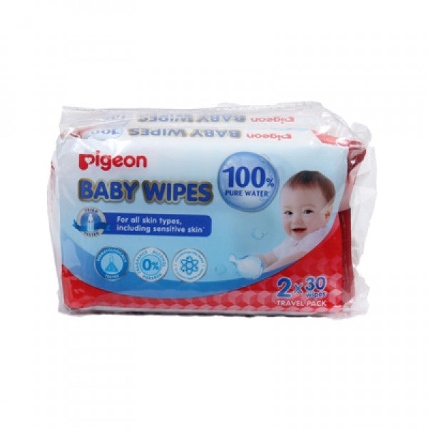 PIGEON BABY WIPES 30X2 60 SHEETS 100% PURE - P78101