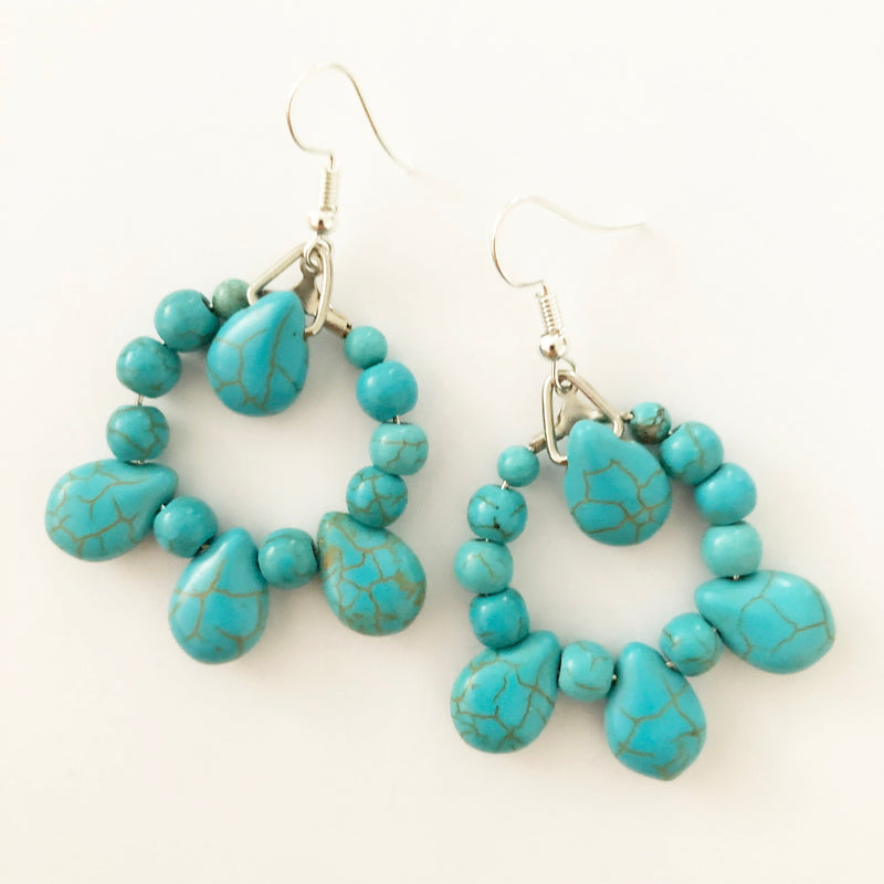 Turquoise Howlite round earrings