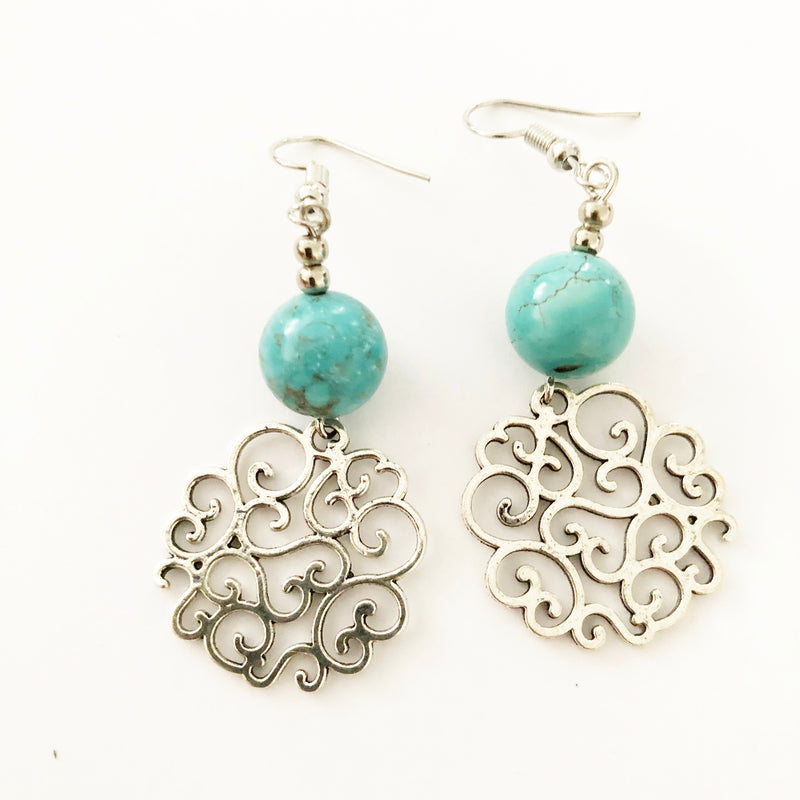 Turquoise with ornate disc earrings