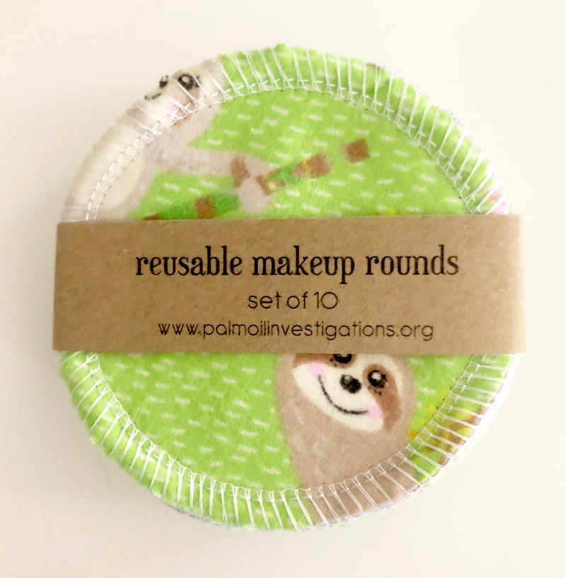 Reusable makeup rounds Sloth - set of 10