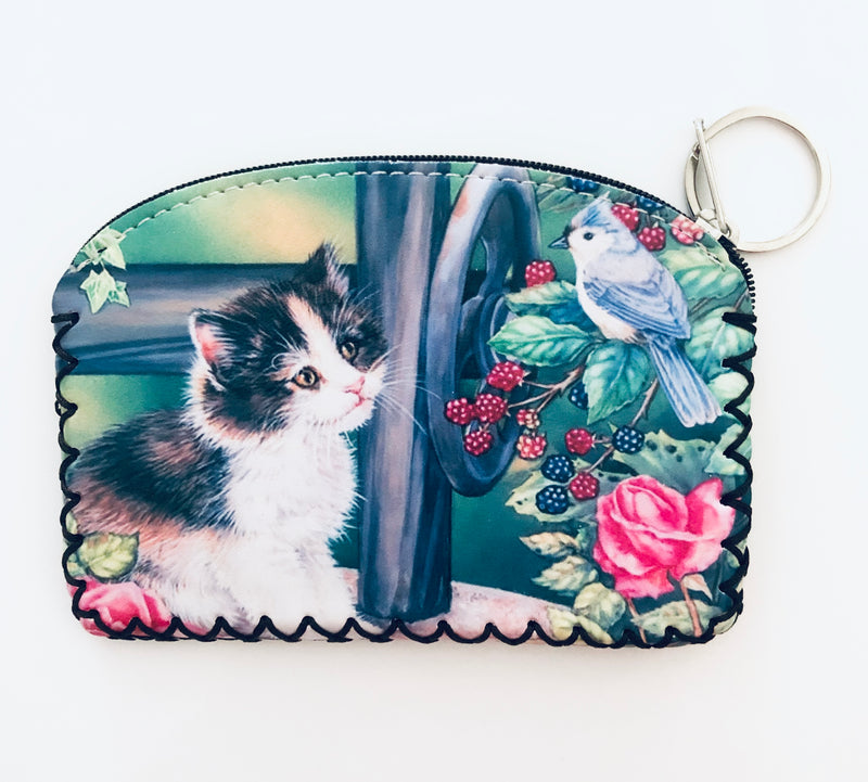 Coin purse with key chain - Kitty with Bird