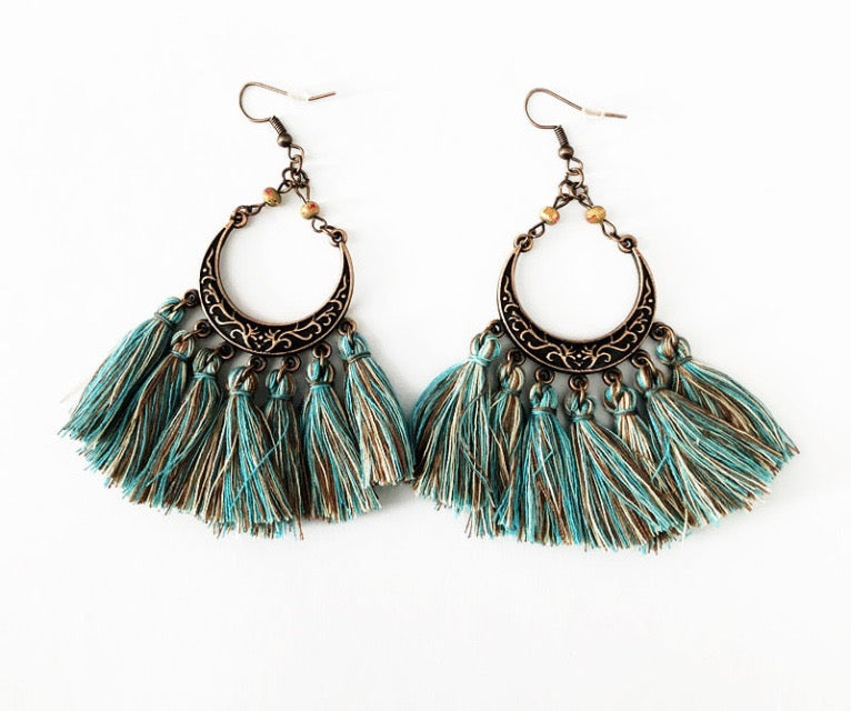 Boho Blue Fringe hoop Earrings