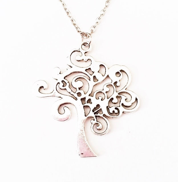 Curly Tree on silver toned chain