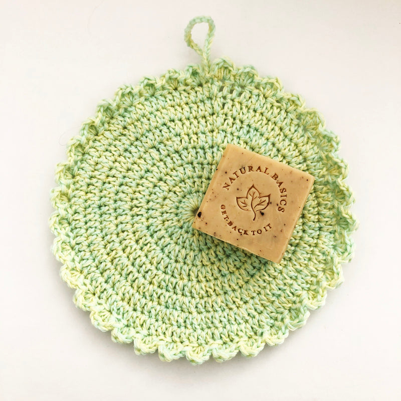 Body Cloth scalloped - Hand crocheted - Lime