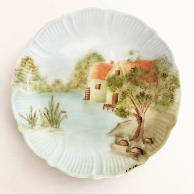 Hand painted china plate - River cabin