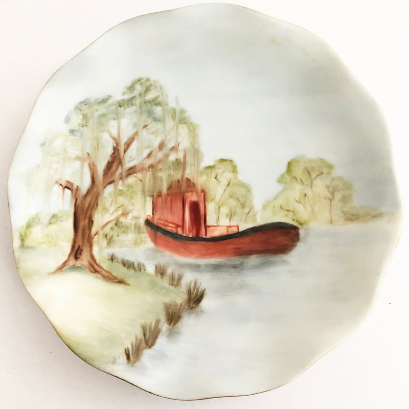Hand painted china plate - boat & willow