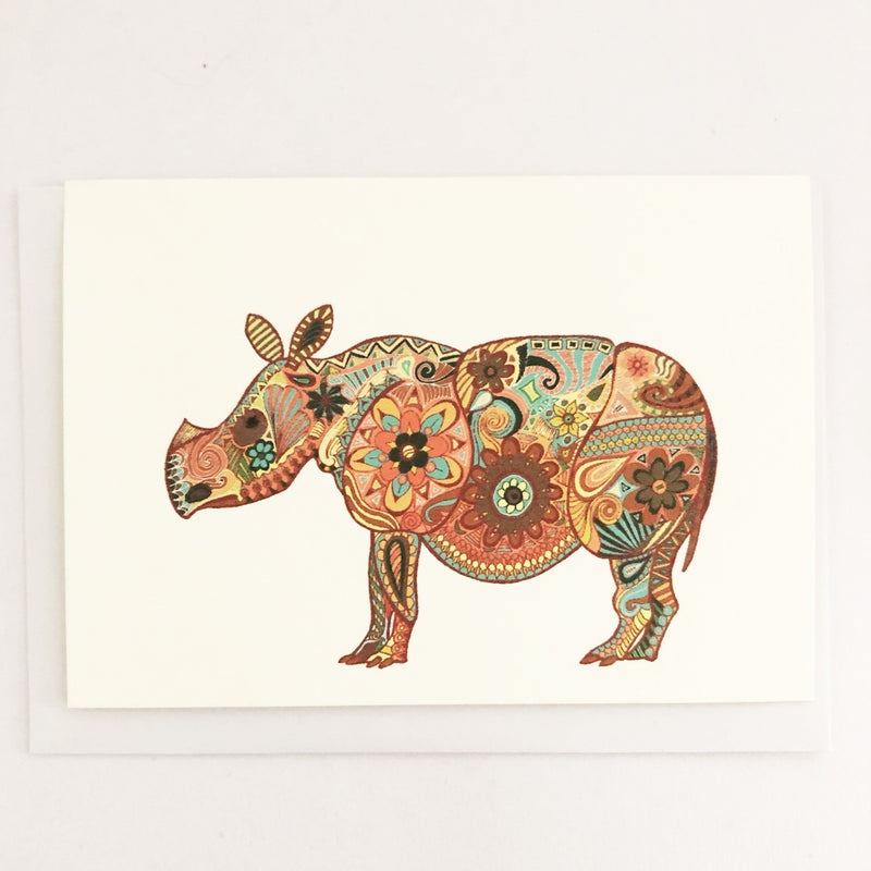Sumatran Rhino Blank Greeting Card