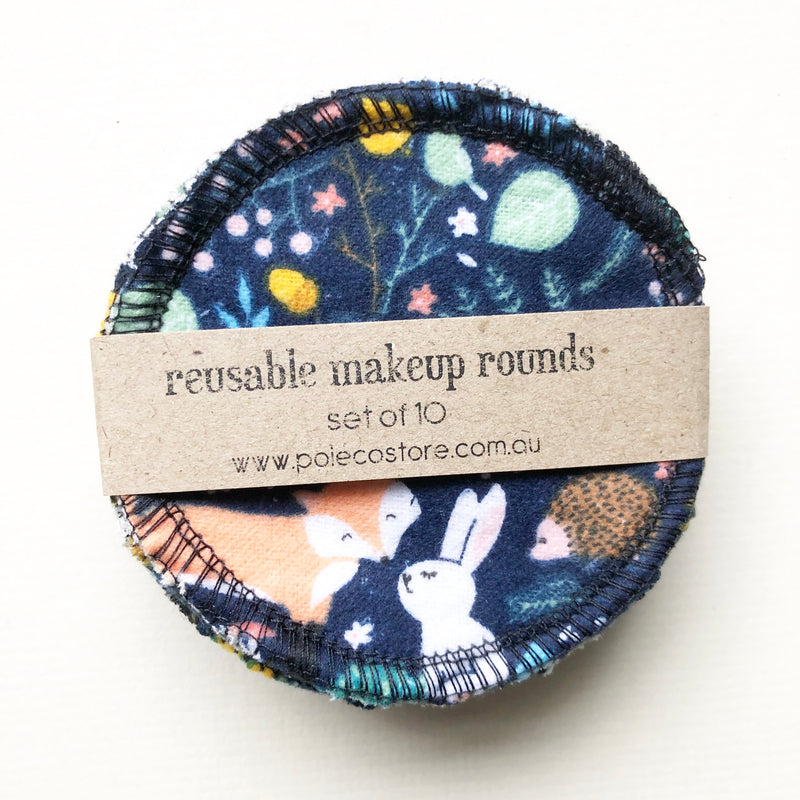 Reusable makeup rounds Midnight Forest Friends - set of 10