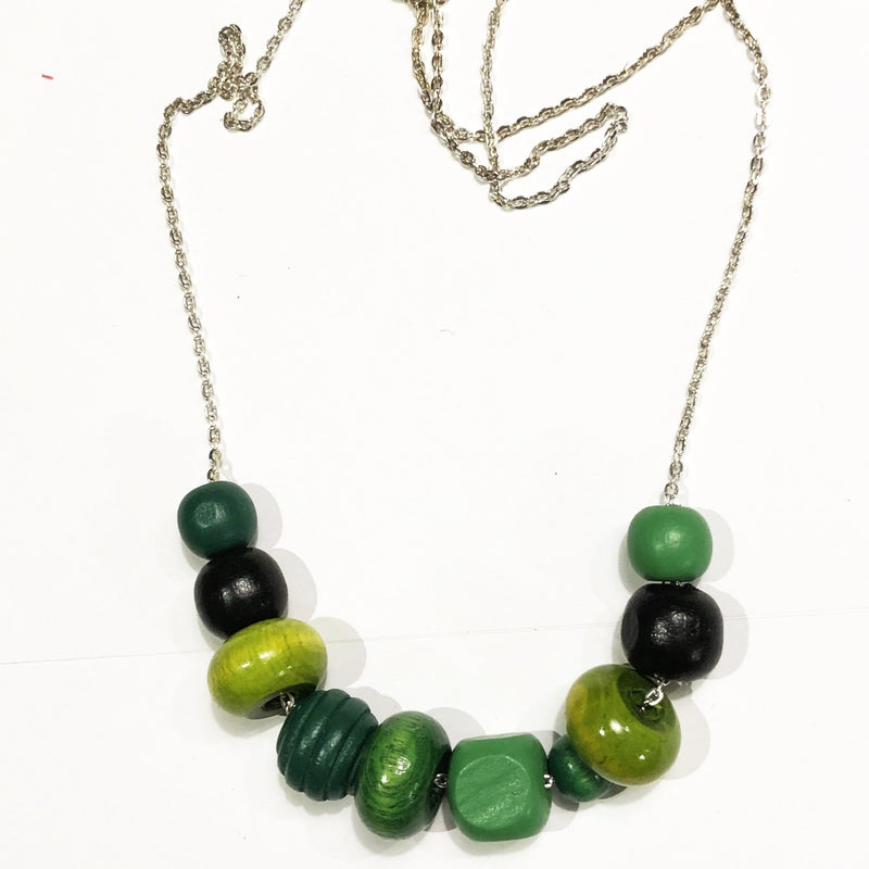 Wooden necklace - Green