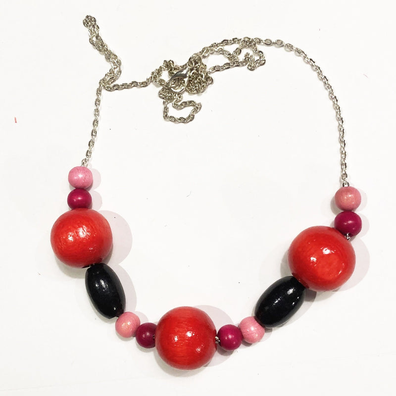 Wooden necklace - Red & Pink