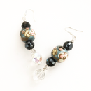 Blue Floral beads with dangling crystal glass earrings