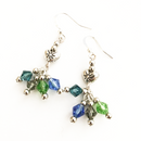 Silver Heart with dangling crystal glass earrings