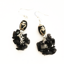 Black Ceramic beads with dangling stone chip earrings