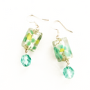 Turquoise Daisy with dangling glass earrings