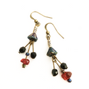 Peacock Flower glass dangling earrings