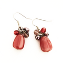 Cerise bead with artificial pearl dangling earrings