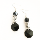 Jet crystal cut glass with silver bail dangling earrings