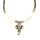 Elephant with silver toned tubing Necklace