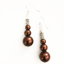 Maroon Glass Pearl drop earrings