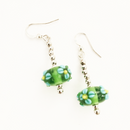 Green Glass with Blue Daisies drop earrings