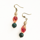 Orange Glass with Jade stone drop earrings