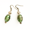 Green and Gold Glass drop earrings