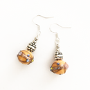 Orange Ornate Glass ball earrings