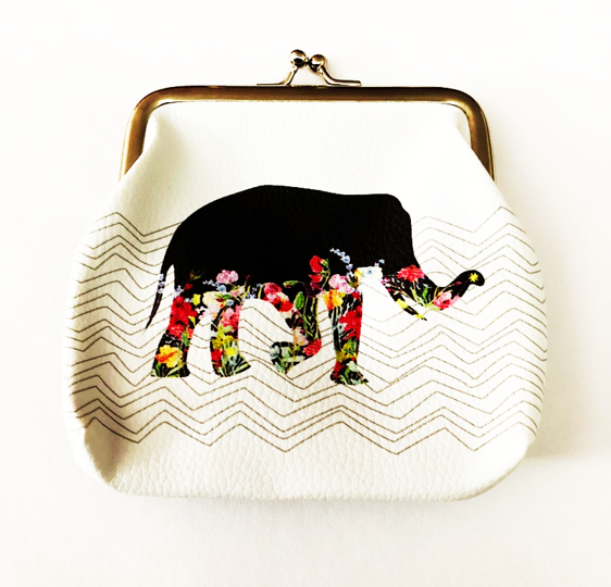 Coin Purse with clasp - Black Elephant