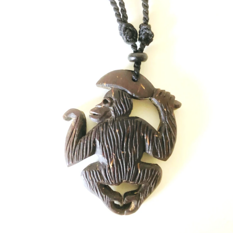 Hand Carved Sumatran Orangutan Necklace - Style A