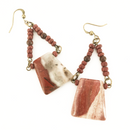 Polished Stone with brown seed bead earrings