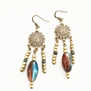 Bronze Dangle with Blue and Amber Glass earrings