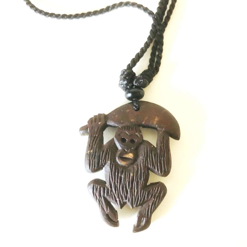 Hand Carved Sumatran Orangutan Necklace - Style G