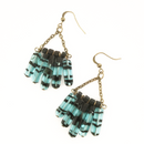 Blue Glass Chain earrings
