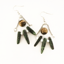 Tiger's Eye and Green Stone Chain earrings