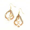 Crystal Cut Gold Glass chain earrings