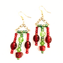 Green and Red Glass Triangle Dangle earrings