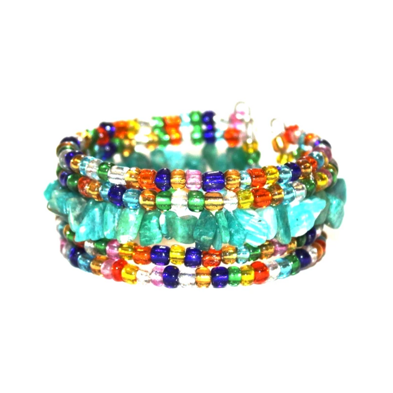 Boho recycled bead cuff bracelet - one of a kind - Style K