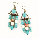 Turquoise Howlite and Wood Triangle Dangle earrings