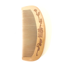 Peach wood beard comb with floral carving