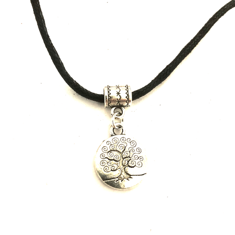 Curly Tree Disc Necklace on cotton cord