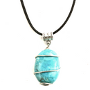 Wire wrapped Turquoise stone on cotton cord