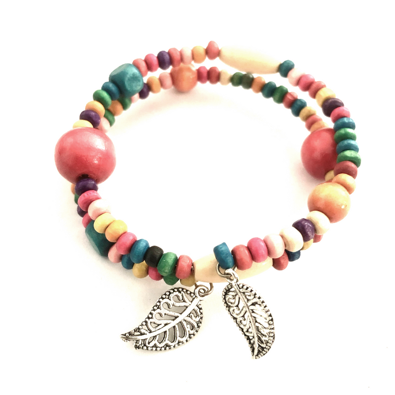Wooden Coil Bracelet with Leaf charms