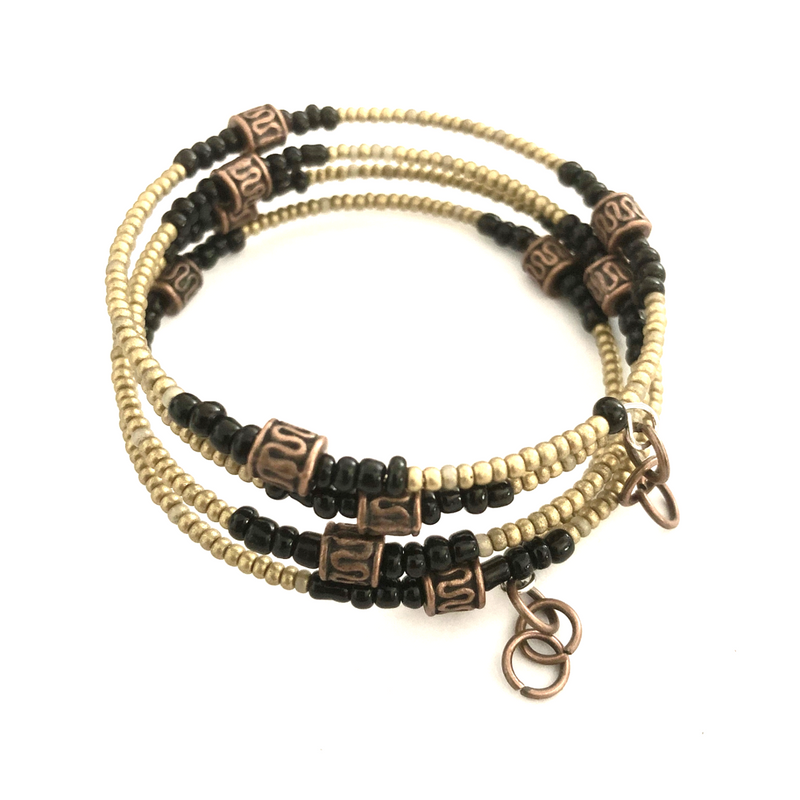 Copper & Bronze coil bracelet