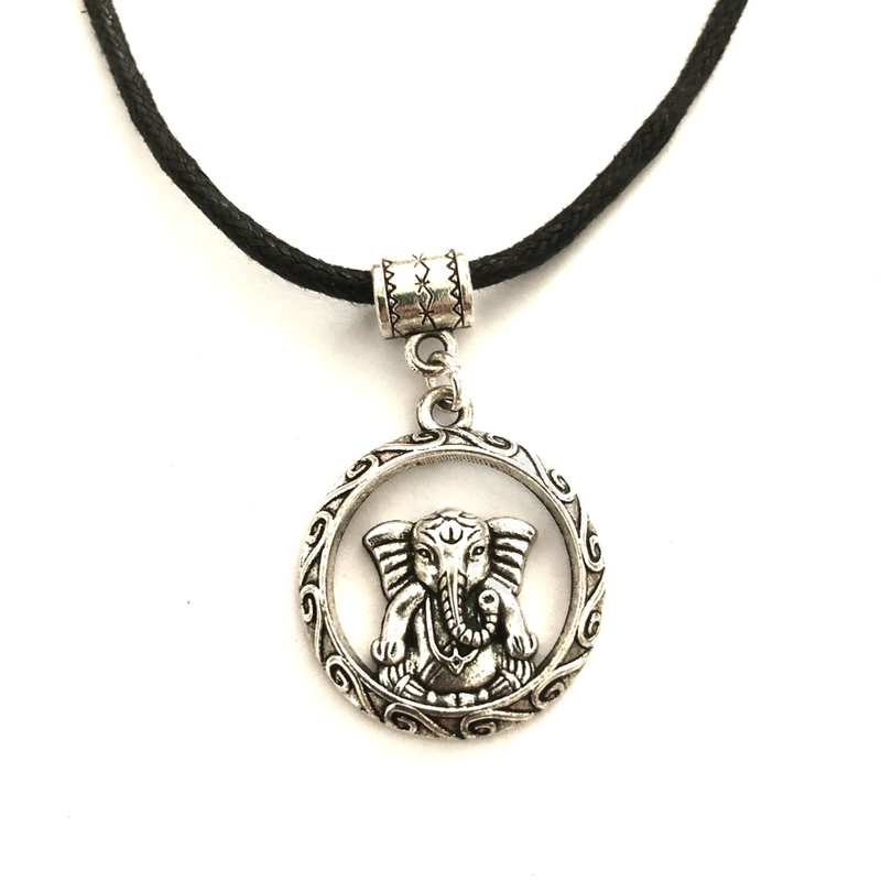 Ganesha Disc Necklace on cotton cord