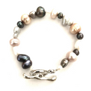 Freshwater pearl bracelet - Multi coloured with toggle