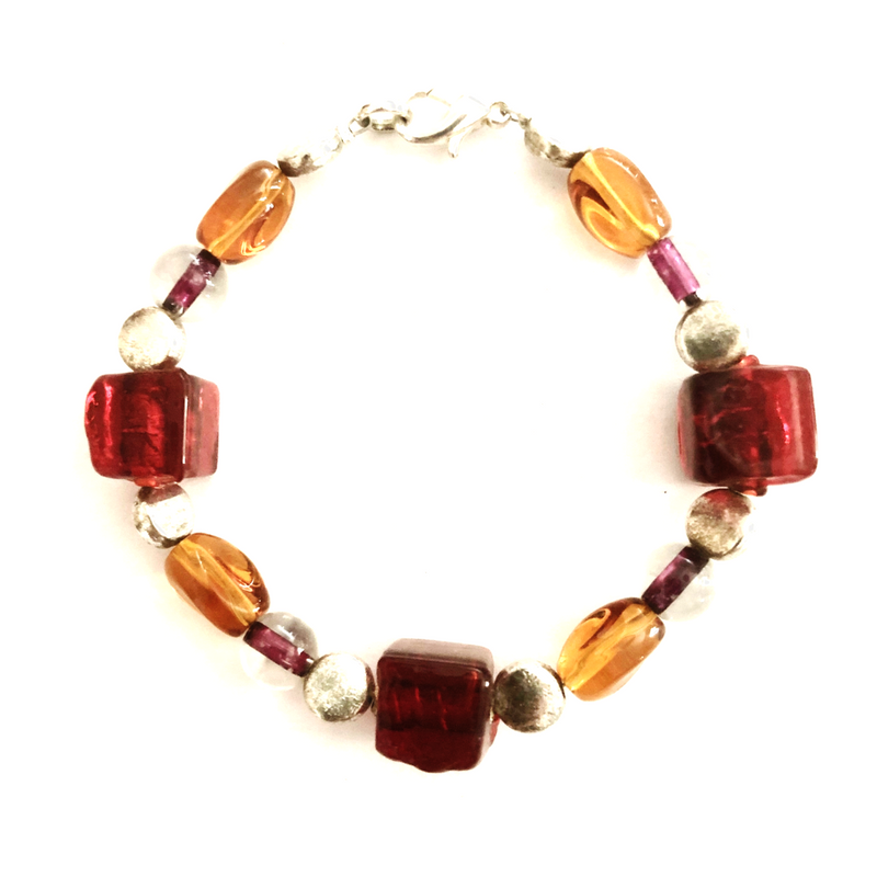 Red & Amber glass beaded bracelet