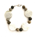 Hexagon Polished Granite & polished stone bracelet
