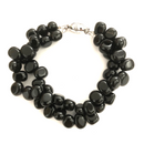 Polished Jet double strand bracelet with magnetic clasp