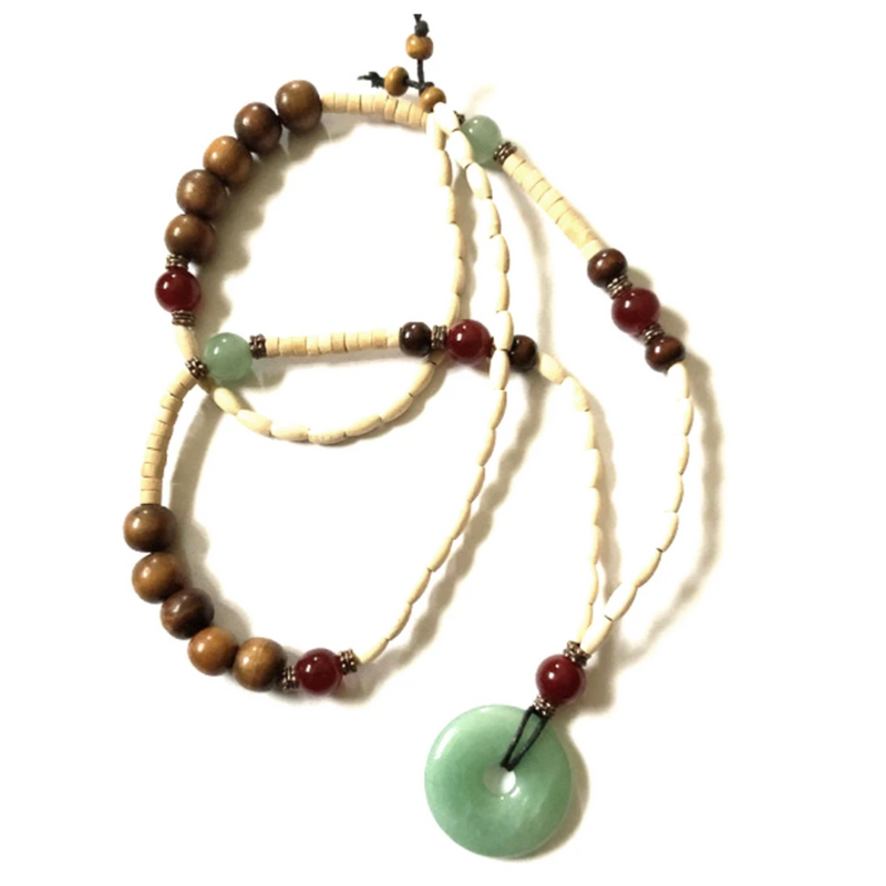 Jade aventurine quartz with light wood beading